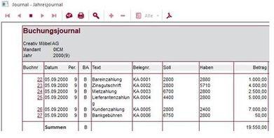Screenshot Buchungsjournal