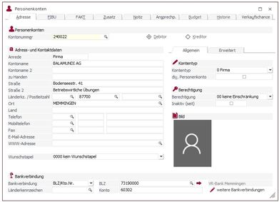 Screenshot Personenkonten
